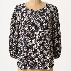 Anthropologie Maeve Confetti Ball Blouse 2 Navy